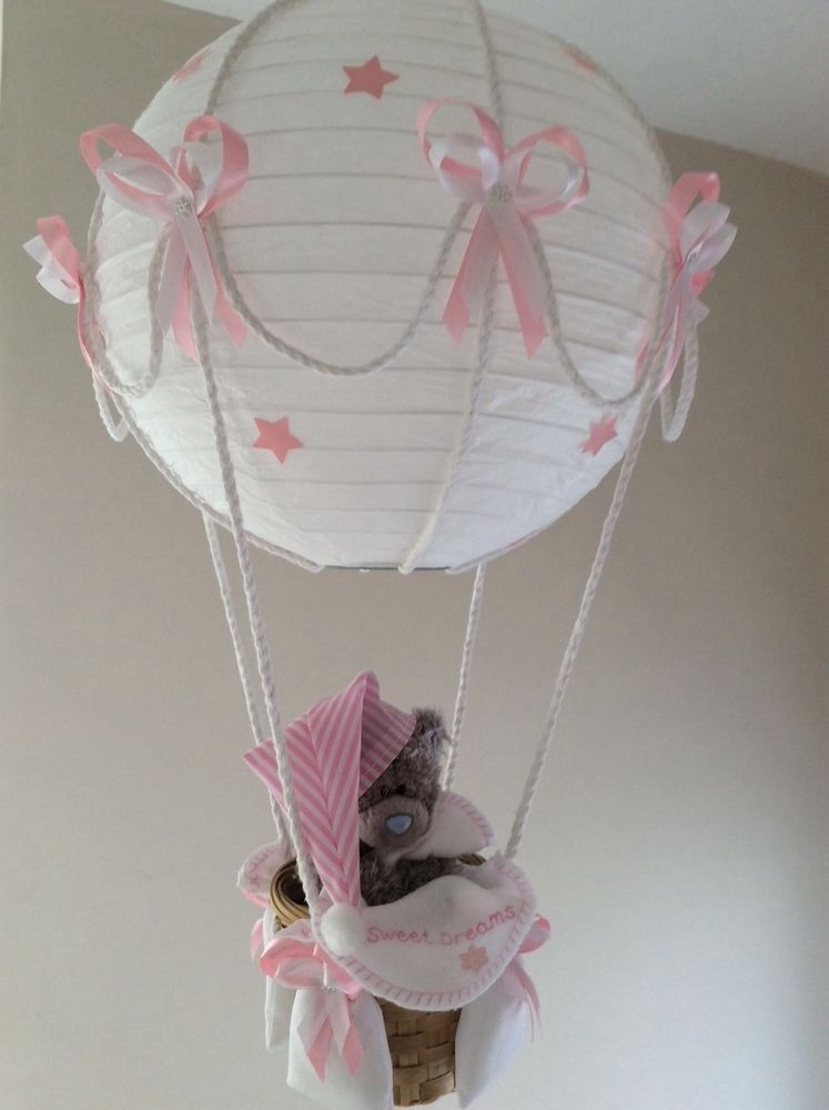 tatty teddy hot air balloon lamp light shade pink in baby nursery decoration furniture lamps. Black Bedroom Furniture Sets. Home Design Ideas