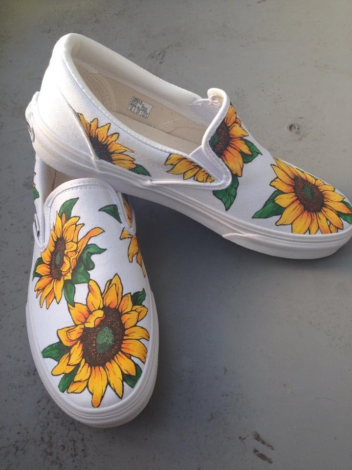 20dd0dcdc88 Custom painted sunflower vans 2 Painted Vans