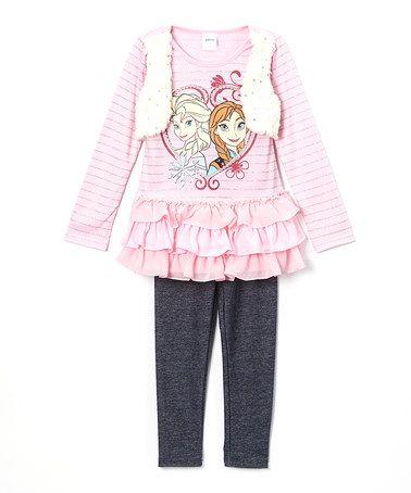Love this Frozen Elsa & Anna Pink Ruffle Top & Leggings - Girls on…