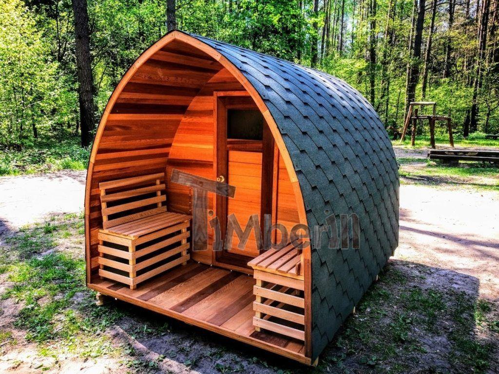 Sauna Jardin Extérieur En Bois Cèdre Rouge Avec Chauffage électrique Et  Porche Idee