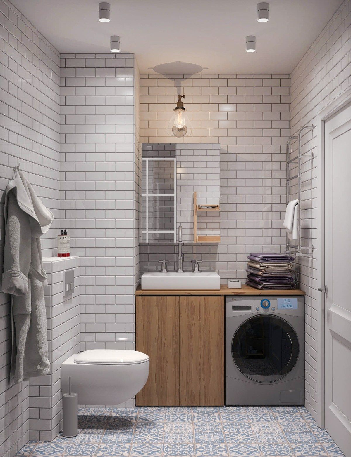 Fabulous Small Bathroom Design With White Color.