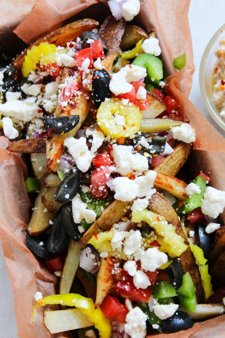 Loaded Greek Street Fries with Zesty Feta Dip Appetizer