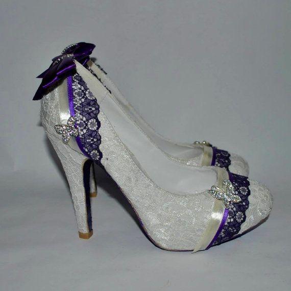 Handmade Custom Ivory Lace Purple Butterfly Wedding Bridal Heels
