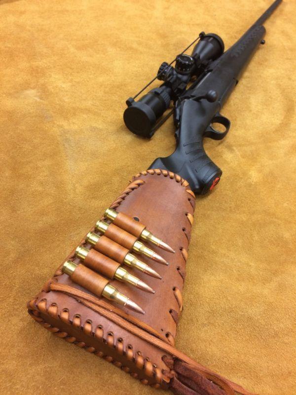 Handmade Leather Gun Stock Cover Shell Holder Hunting Ruger