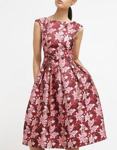 Miss Selfridge Czerwona W Kwiaty Midi Sukienka Rozkloszowana Letnia Red Fashyou Pl Vestidos