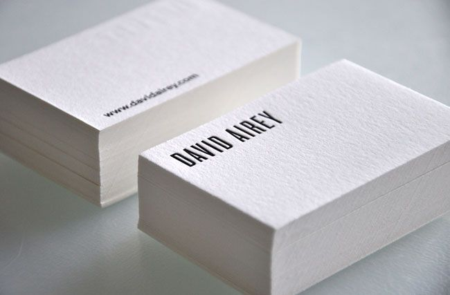 Letterpress note cards - leaving white space on uncoated stock is - letterpress business card