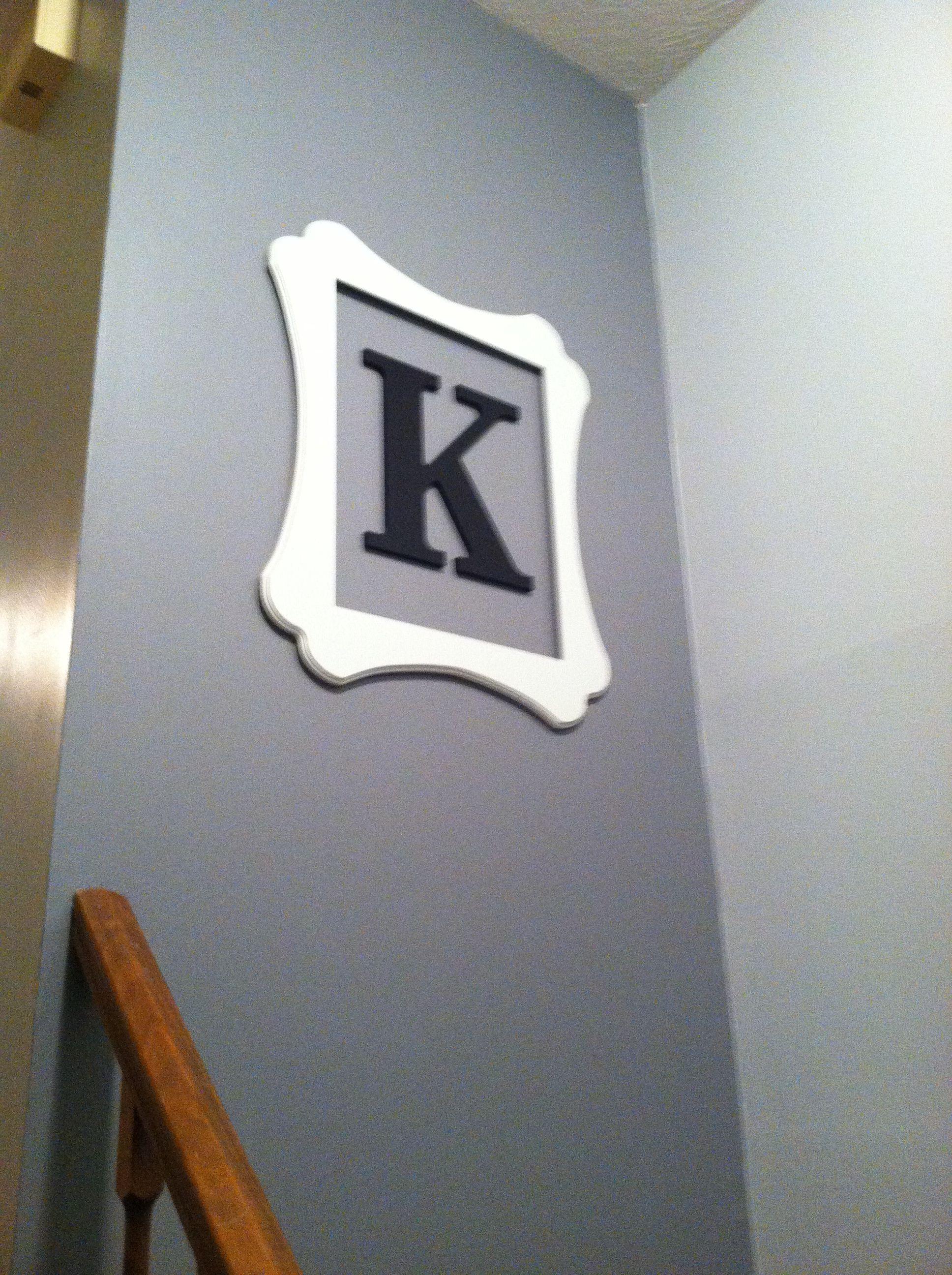 """Hobby Lobby open frame and wooden letter """"K"""". Letter k"""