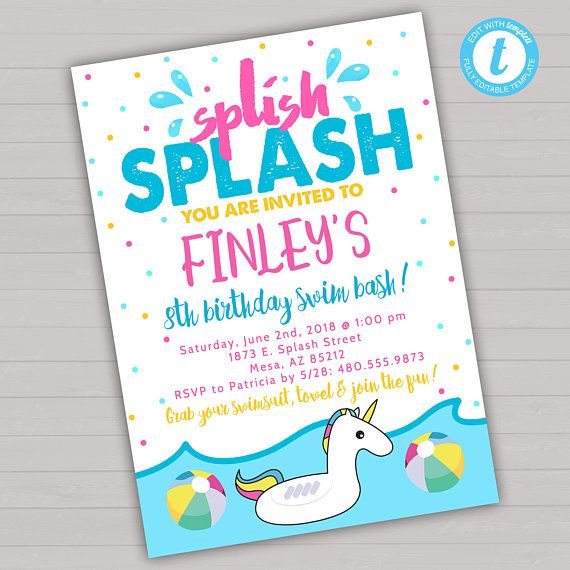 Swim birthday party invitation swimming invitation splish splash swim birthday party invitation swimming invitation splish splash birthday invitation unicorn birt unicorn filmwisefo
