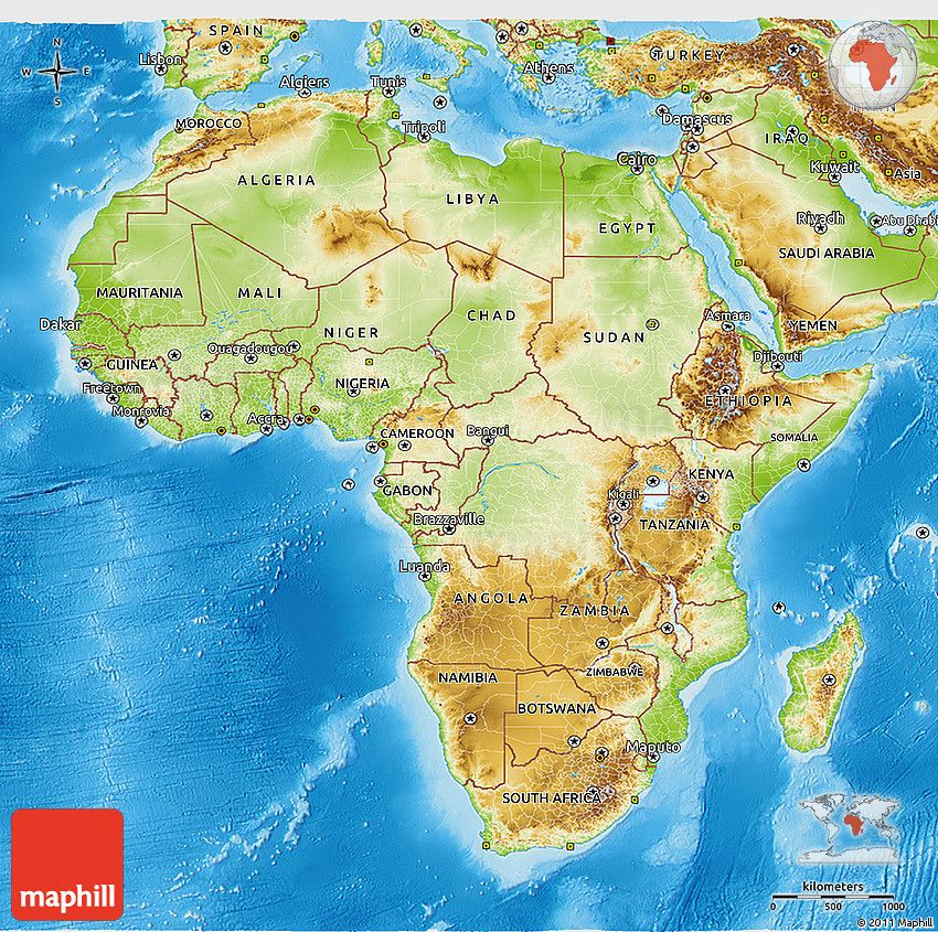 Africa Map Geographical.Physical 3d Map Of Africa Africa Map Map Africa