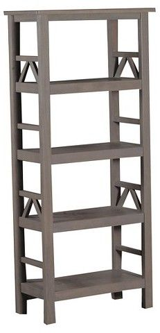 This gray bookshelf will match almost any decor!  Perfect for keeping living room things tidy while still looking pretty. #affiliate