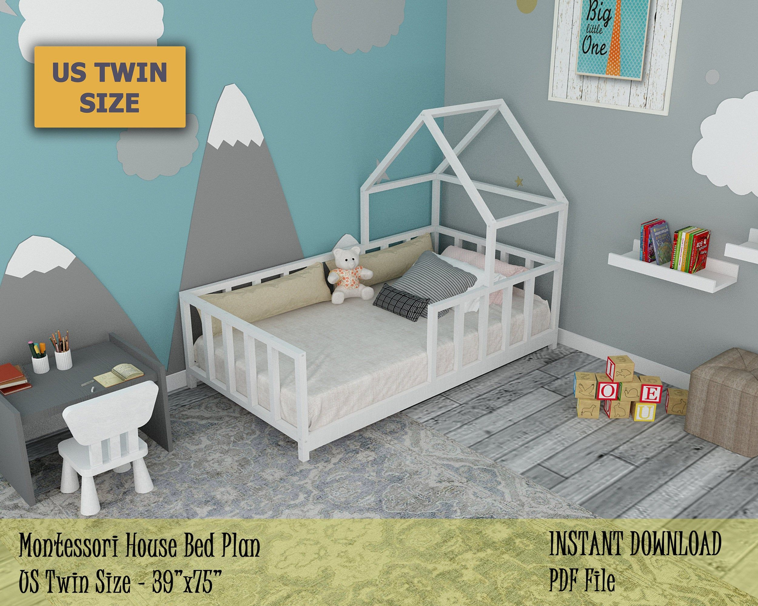 Montessori House Bed Plan Toddler Twin Bed Frame Wooden Bed Frame Easy And Affordable Diy Toddler Floor Bed For Kids Bedroom In 2020 Toddler Twin Bed Toddler Floor Bed Diy Toddler Bed