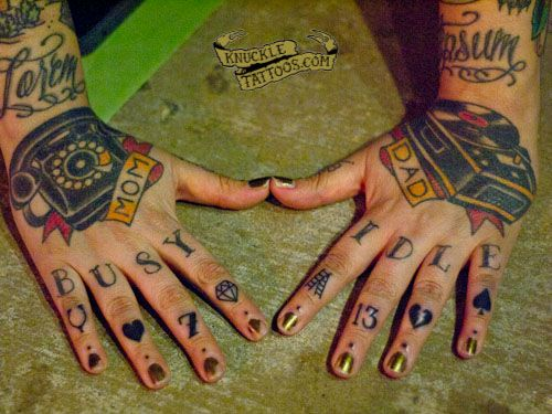 c9c2296c92d84 knuckle tattoos ! BUSY IDLE + good/bad luck symbols | knuckle ...
