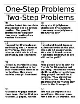 Word Problem Sort - One and Two Step Problems   Word ...