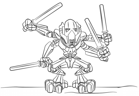 Lego General Grievous Coloring Page From Lego Star Wars Category
