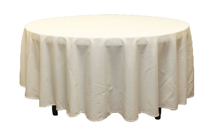 Polyester 108 Round Tablecloth Light Ivory Off White Cheap