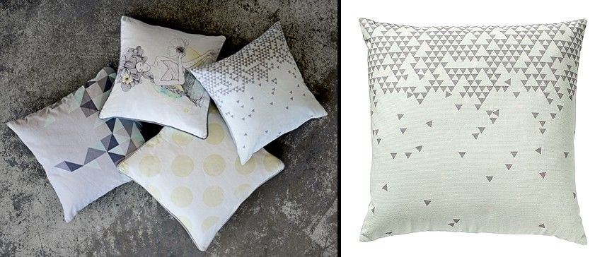 Cojín de algodón Small Triangles Mint  50x50cm de Bloomingville. #cojin #cushion #pillow #bloomingville