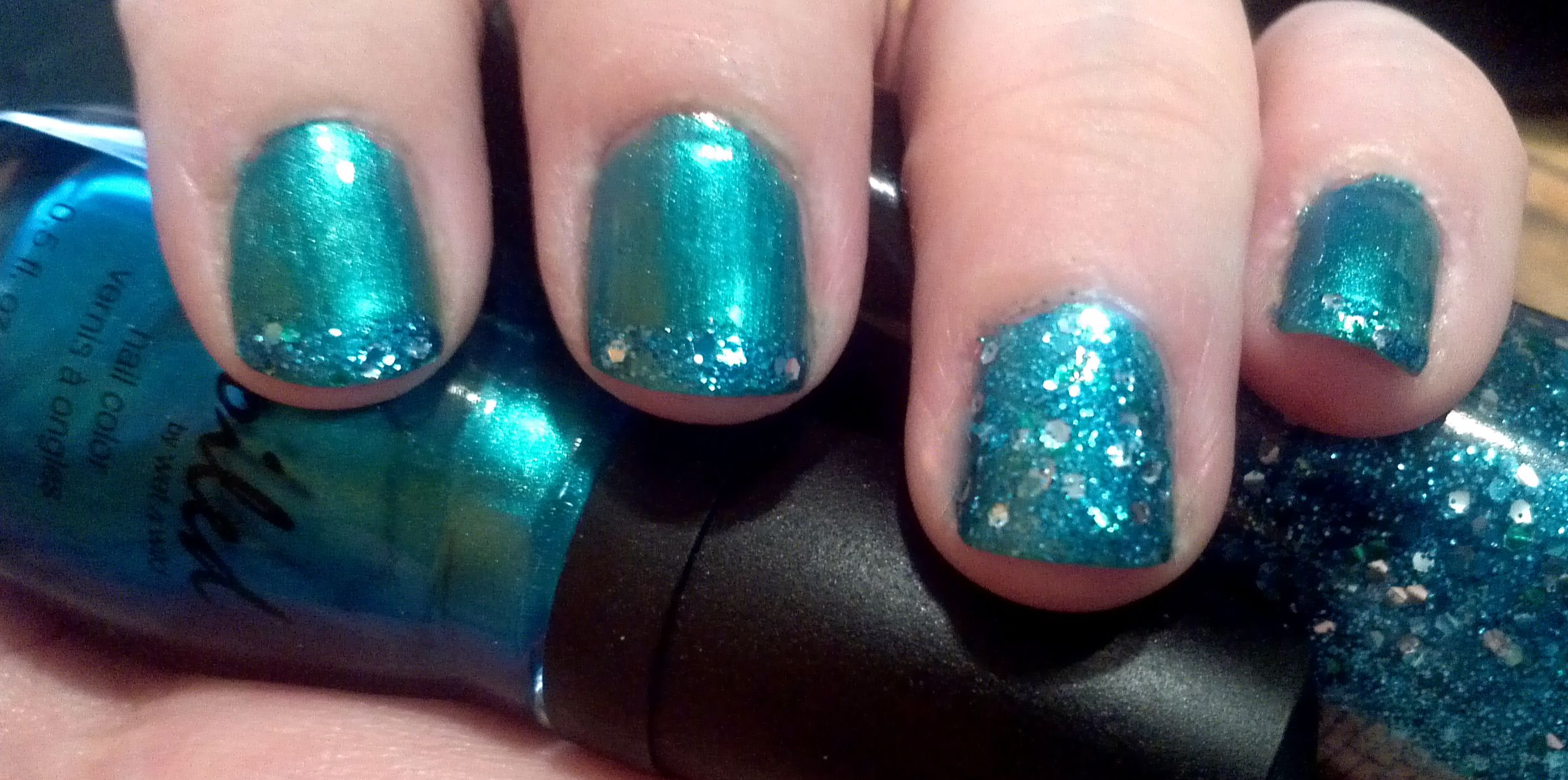 Freehand Blue-Green Glitter Nails. Spoiled Good Karma, Revlon ...