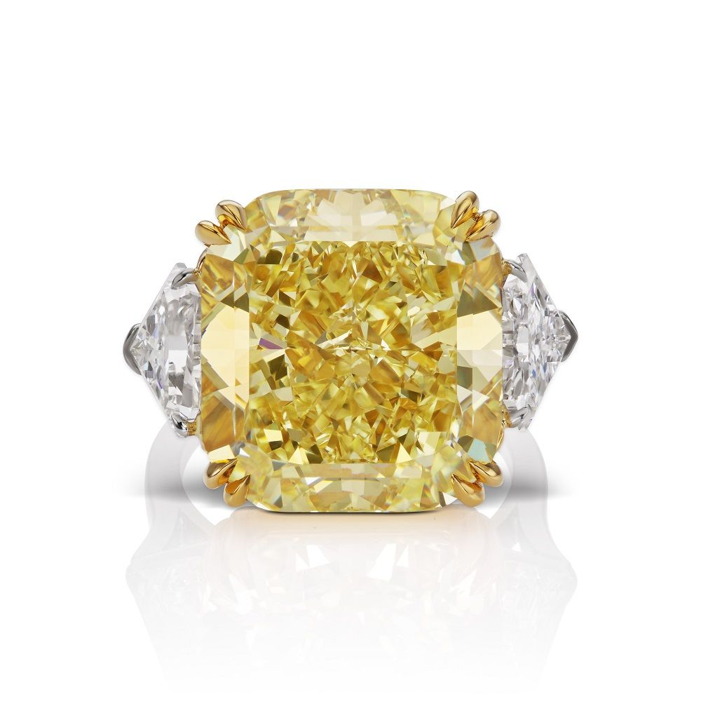 three stone emerald rings bez canary engagement yellow diamond ambar fancy with ring cut