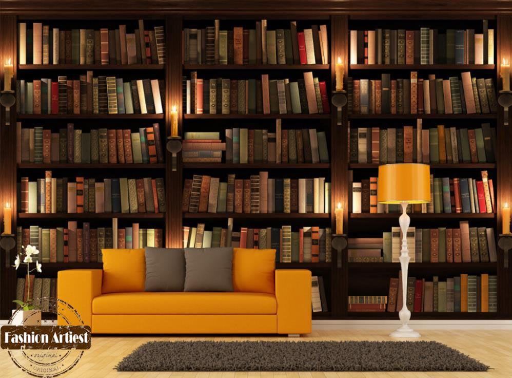 Custom Modern 3d Wallpaper Mural Bookshelf Bookcase Candle Tv Sofa Bedroom Living Room Study Room Cafe Resta Vintage Bookshelf Retro Bookcases Bookshelf Design
