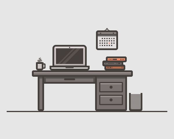 Desk Scenery Illustration Vector Graphics #vectorgraphics ...
