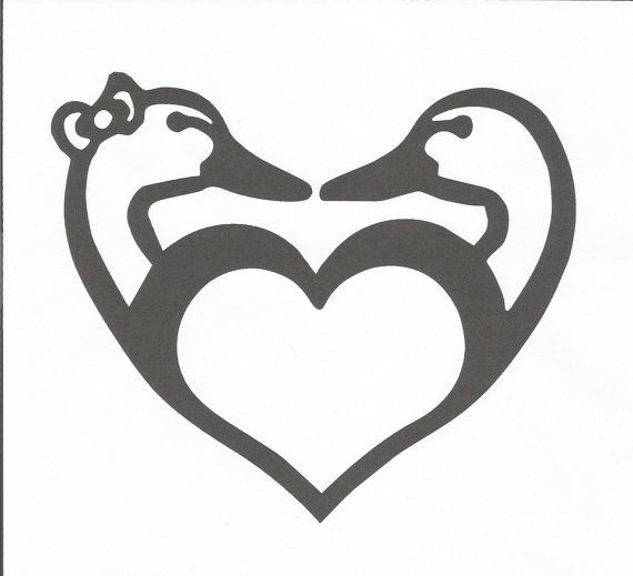 Drake Heart Shaped Boy And Girl Duck Heads Vinyl Decal Silhouette Stencil Silhouette Curio Duck Silhouette