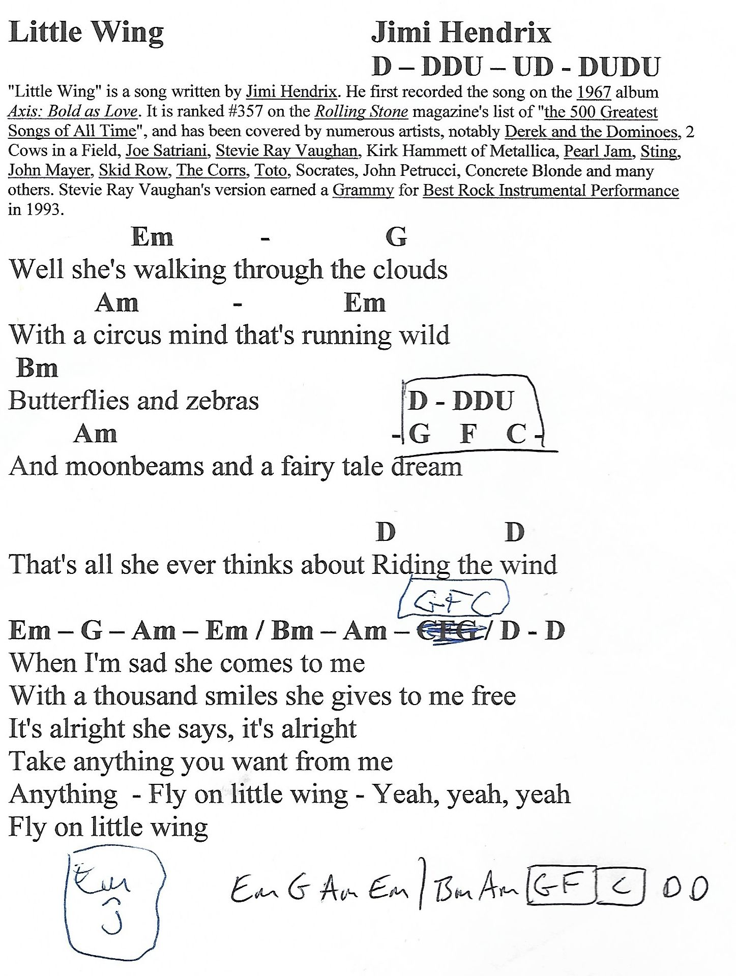 Little Wing Hendrix Guitar Chord Chart With Lyrics Httpwww