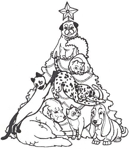 Dog Rubber Stamp Christmas Tree Of Pets1j Size 312 Wide X 314 Tall Want Additi Christmas Coloring Pages Christmas Tree Coloring Page Christmas Tree Drawing