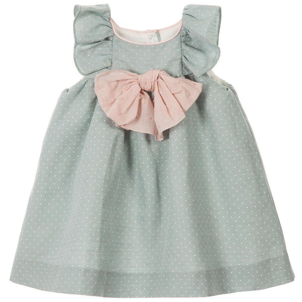 Nanos Baby Girls Green Spotty Dress with Pink Bow  at Childrensalon.com