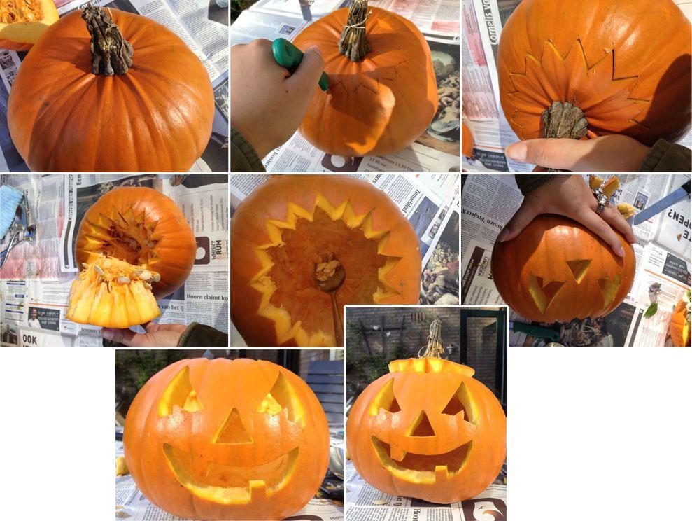 Uithollen Pompoen Halloween.Pompoen Uithollen Knutselen Halloween Pompoenen