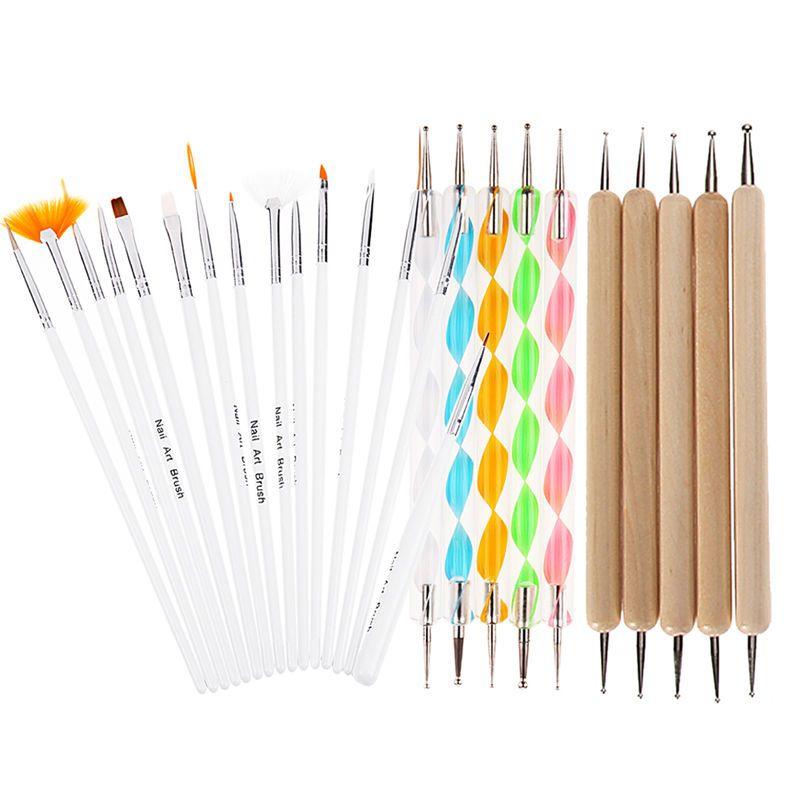 20 Pz DIY Nail Art Design Pittura Che Punteggia Pen Nail Disegno Disegno di Auto Spazzole Manicure Bundle Tool Kit Set (tutti) K5BO