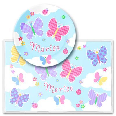 Kids personalized Butterfly Garden Meal Time Plate Set by Olive Kids!