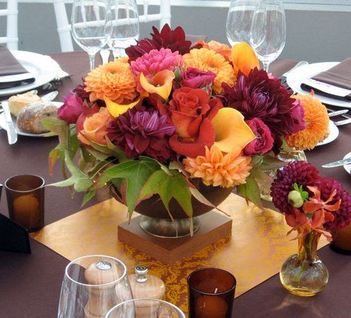 Flowers Centerpiece Red Orange Brown Yellow Inspiration Board Gold Fall Wedding Flowers Orange Fall Wedding Flowers Red Centerpieces