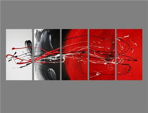 37569ec21a7 5 Abstract canvas painting red black white. Wall art paintings ...