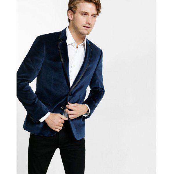 Express Navy Velvet Blazer 149 Liked On Polyvore Featuring Men S Fashion Men S Clothing Men Blue Velvet Blazer Mens Velvet Blazer Mens Velvet Jacket Men