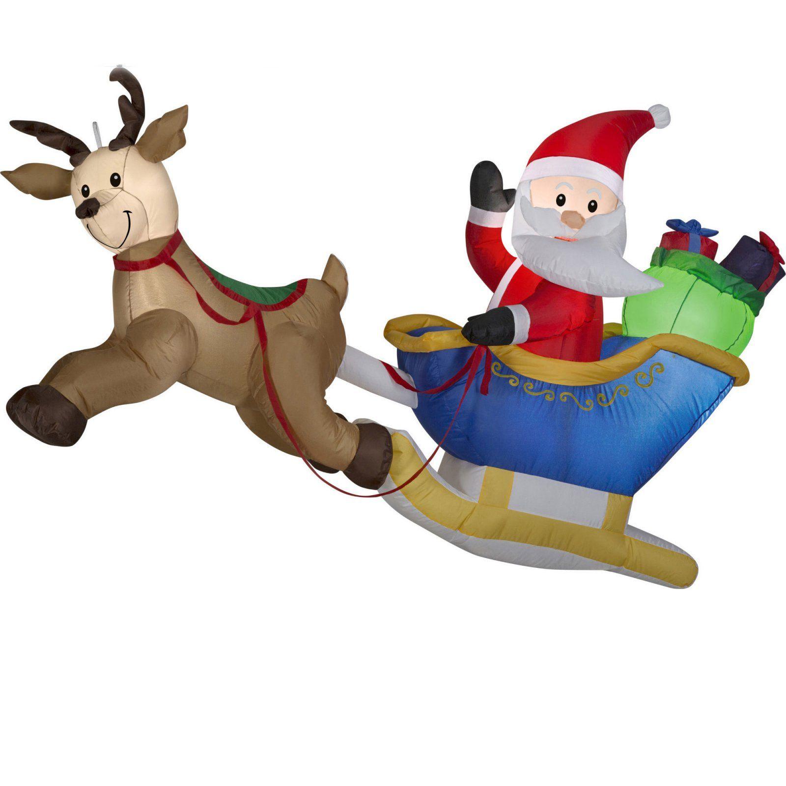 Gemmy Flying Santa And Reindeer Outdoor Inflatable Yard Decor Santa And Reindeer Christmas Inflatables Reindeer Lights