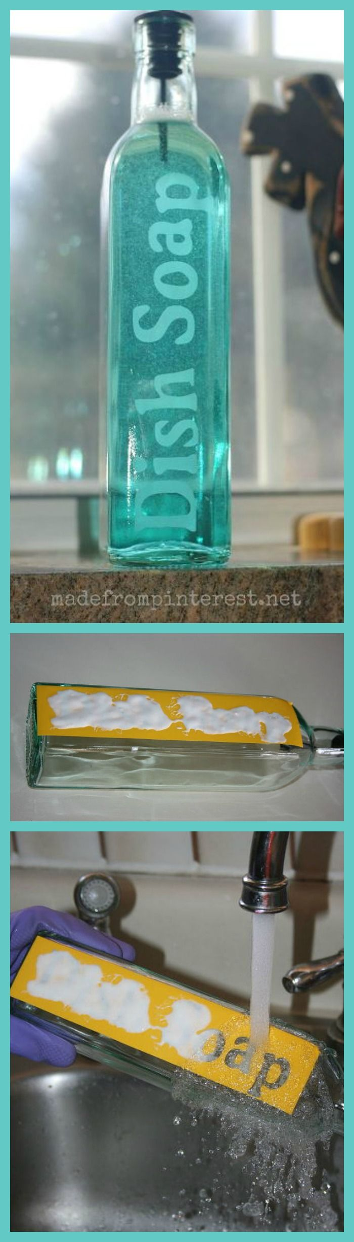 This crafter used an olive oil dispenser to make an etched glass soap dispenser…