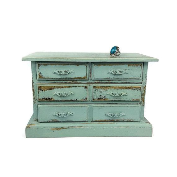 BEAUTIFUL JEWELRY BOX Distressed Wood Jewelry Holder Cottage Chic