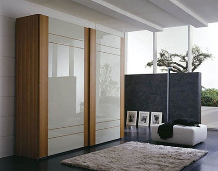 Furniture, Modern image of oak lacquer wooden glass sliding door bedroom  wardrobe ideas design you must see