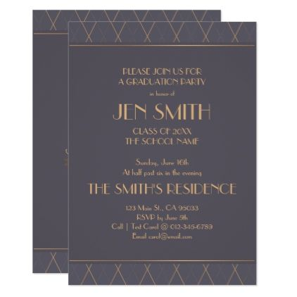 Elegant Art Deco Graduation Party Invitation Card
