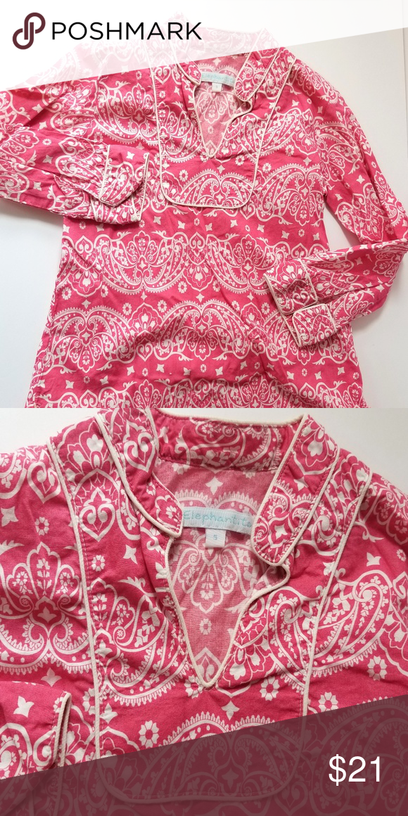5761e1c804a Pink and white paisley tunic by Elephantito Bright pink cotton tunic, with  white paisley design. White piping runs around the mandarin styled collar  and ...
