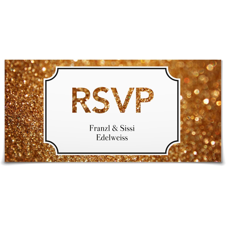 Antwortkarte Goldstaub in Mitternacht - Postkarte lang #Hochzeit #Hochzeitskarten #Antwortkarte #elegant #modern https://www.goldbek.de/hochzeit/hochzeitskarten/antwortkarte/antwortkarte-goldstaub?color=mitternacht&design=439d7&utm_campaign=autoproducts