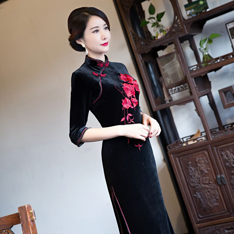 a537d8682 traditional-dress-velvet-qipao-embroidery-cheongsam-chinese-style ...