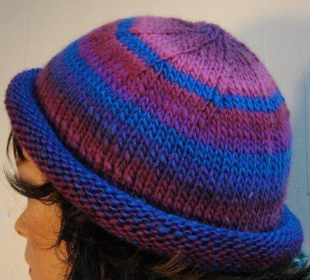 Free Knitting Pattern Hats Colorful Striped Roll Brim Hat