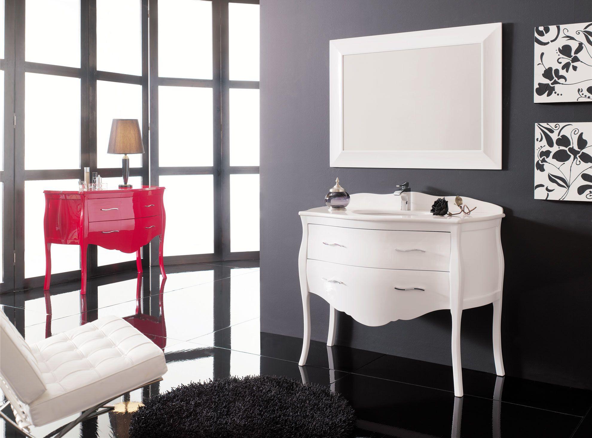 Mueble de baño Luis XV blanco brillo 90 cm. | Salle de bain | Pinterest