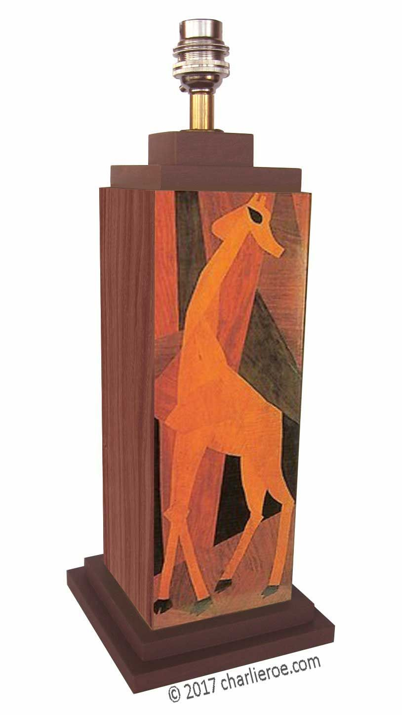 TDS - The Design Service - New Omega Workshops style painted & marquetry 'Giraffe' table Lamp
