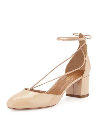 408d188e4f24e Alexa Patent Mid-Heel Pump Nude   shoes   Pumps heels, Mid heel ...