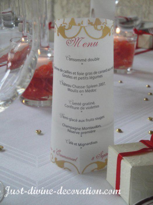 Préférence mariage rouge or menu | deco table | Pinterest | Mariage rouge  FG44