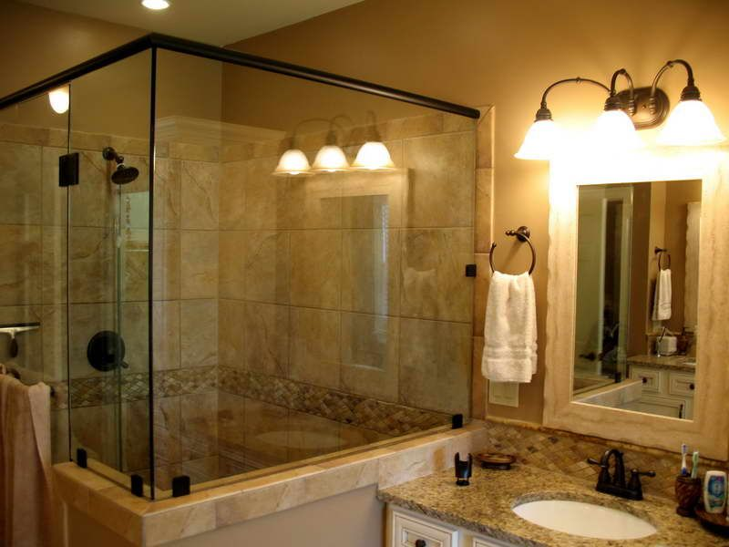Simple Elegant Bathroom Tile Design Ideas: Small Bathroom Tile Design Ideas  With Wall Lamp ~