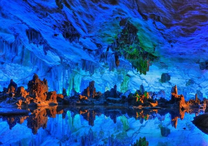 Reed Flute Cave in Guilin, Guangxi, China.