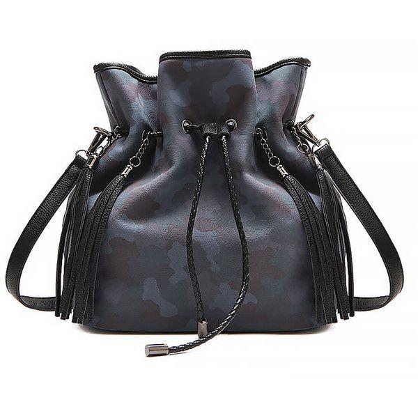 Drawstring Bag With Drop Tassel Detail ($38) ❤ liked on Polyvore featuring bags, handbags, stylemoi, leather shoulder handbags, genuine leather handbags, tote handbags, genuine leather tote and leather tote handbags